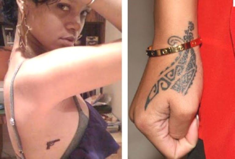 Rihanna's Tattoos; Hand And Chest Tattoos, Nose Job